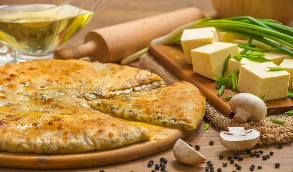 Pie with cheese,mushrooms and greens - 3piroga.ua